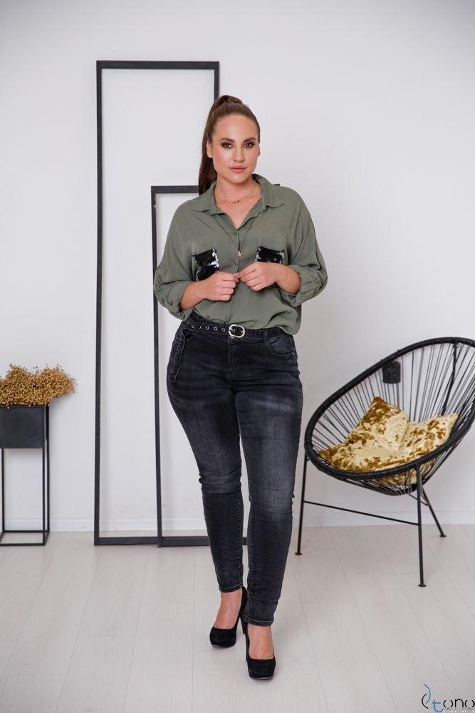 Grafitowe Spodnie MONTY Plus Size Jeans