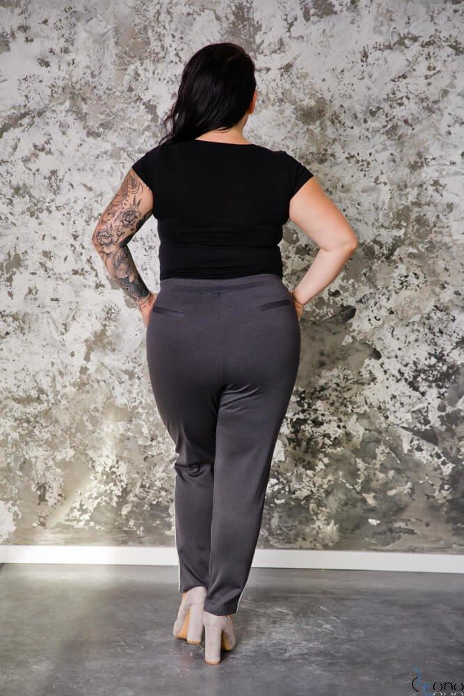 Grafitowe Spodnie VENE Lampas plus Size