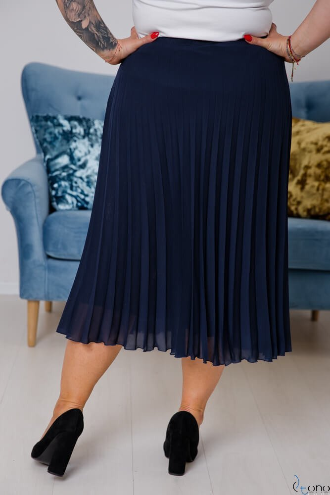 Granatowa Spódnica VOLTER Plus Size Plisowana