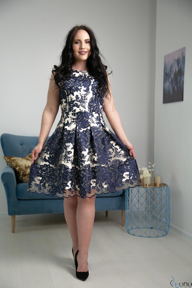 Granatowa Sukienka GENIO Plus Size