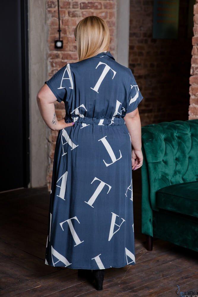 Granatowa Sukienka MALOS Plus Size