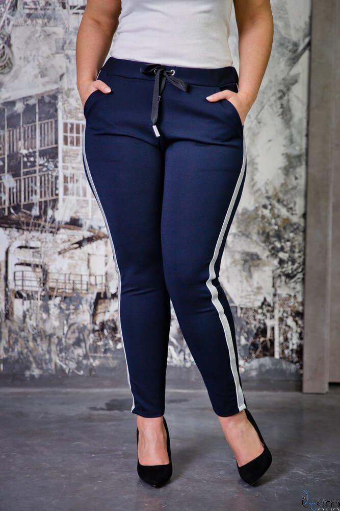 Granatowe Spodnie DYAMMA Plus Size