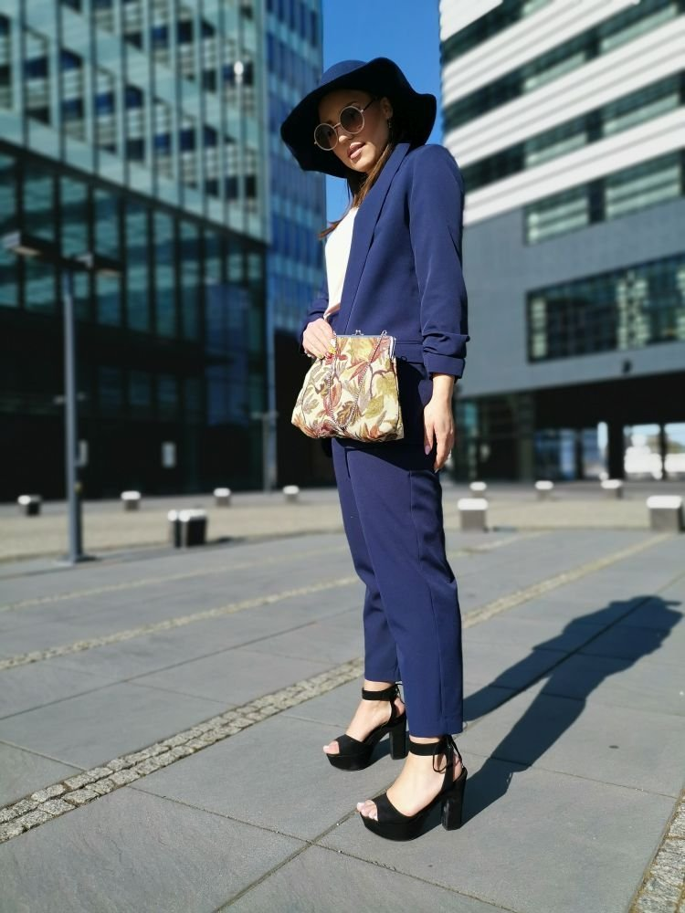 Granatowe Spodnie Eleganckie MIRANO Plus Size