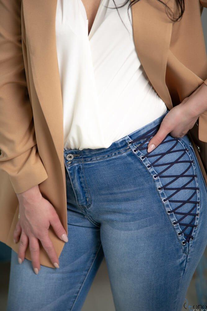 Granatowe Spodnie LUPPE Jeans Plus Size