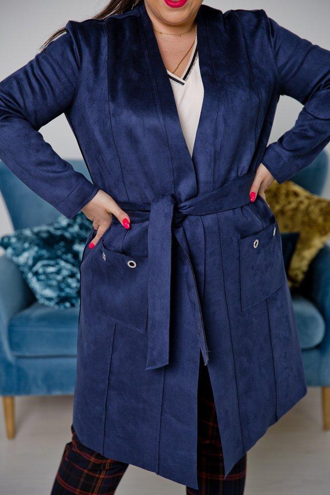 Granatowy Płaszcz CLASSY Plus Size
