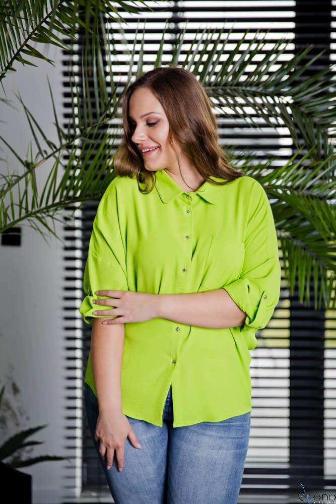 Limonkowa Koszula MONDAY Plus Size