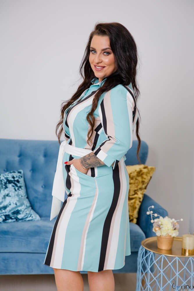 Miętowa Sukienka REYES Plus Size