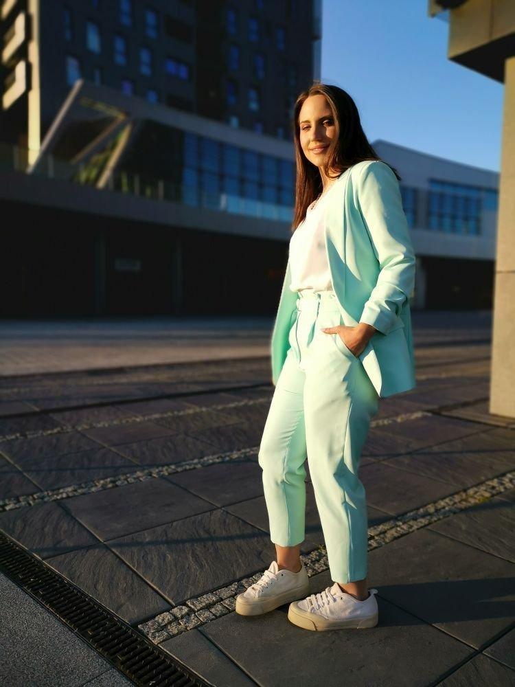 Miętowe Spodnie Eleganckie MIRANO Plus Size