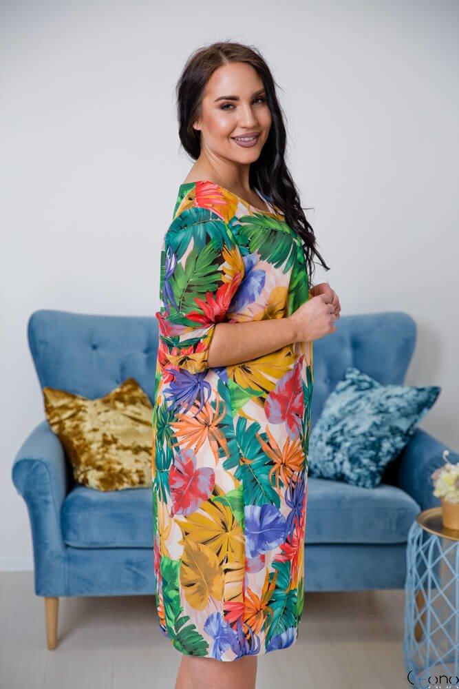 Multikolorowa Sukienka CAMPINA Plus Size