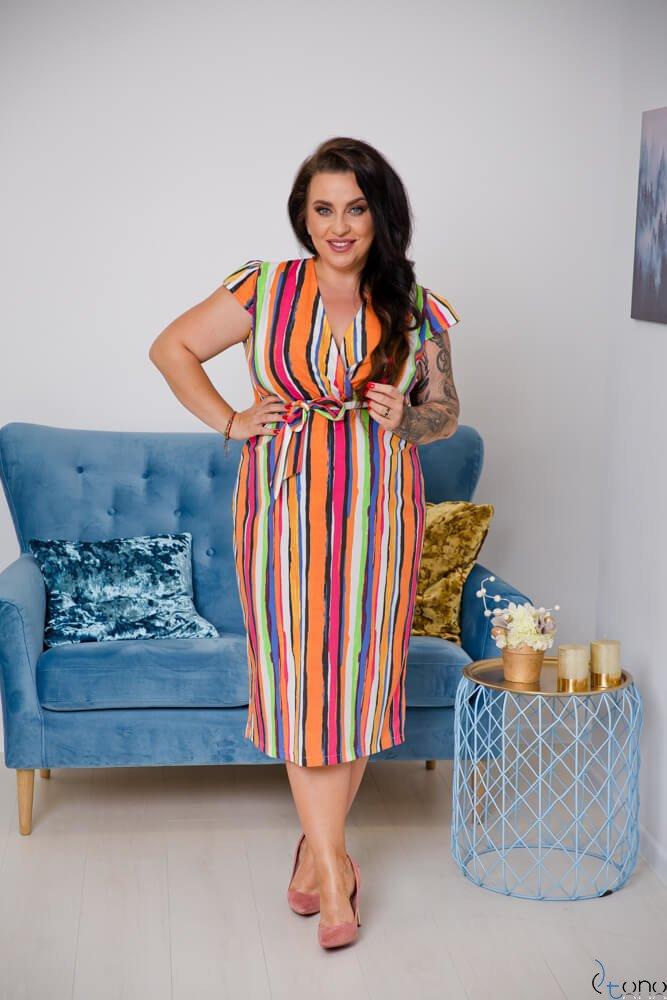 Multikolorowa Sukienka COLORADO Plus Size