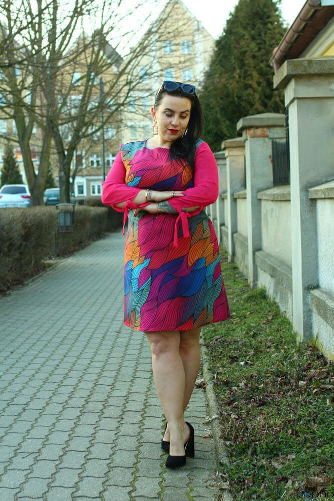 Multikolorowa Sukienka LENAR Plus Size