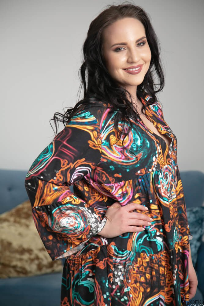 Multikolorowa Sukienka MACARIA Plus Size