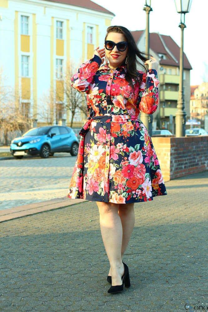 Multikolorowa Sukienka MARCYA Plus Size