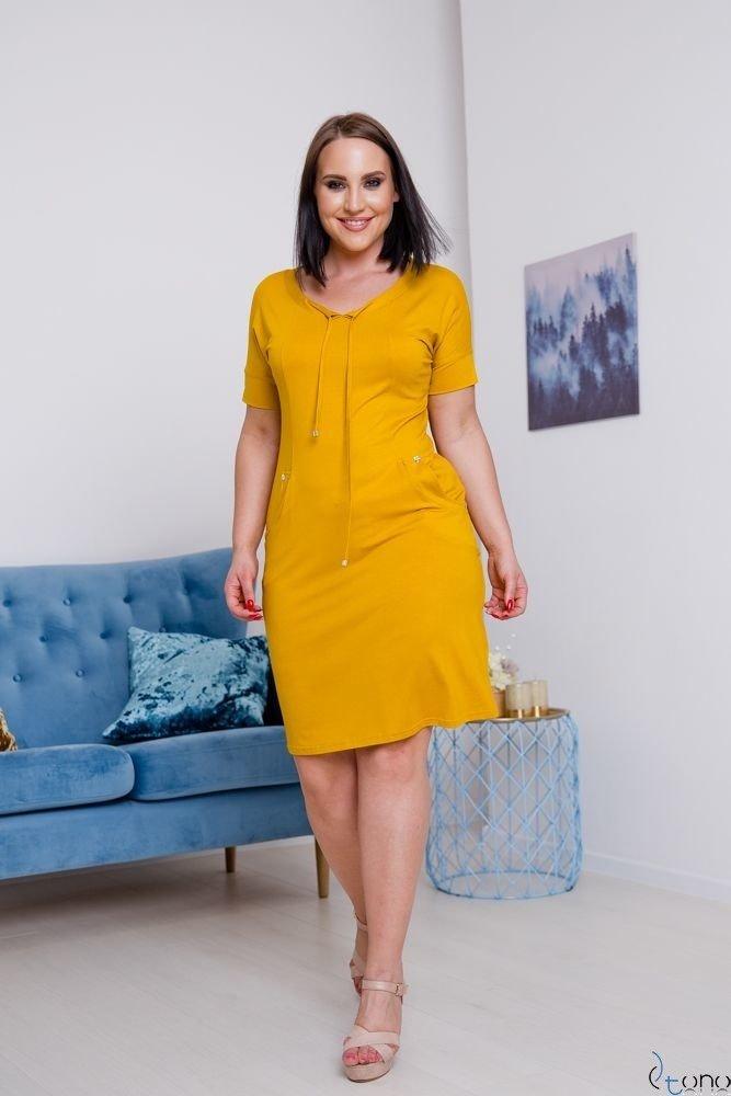 Musztarda Sukienka ASTERIA Plus Size