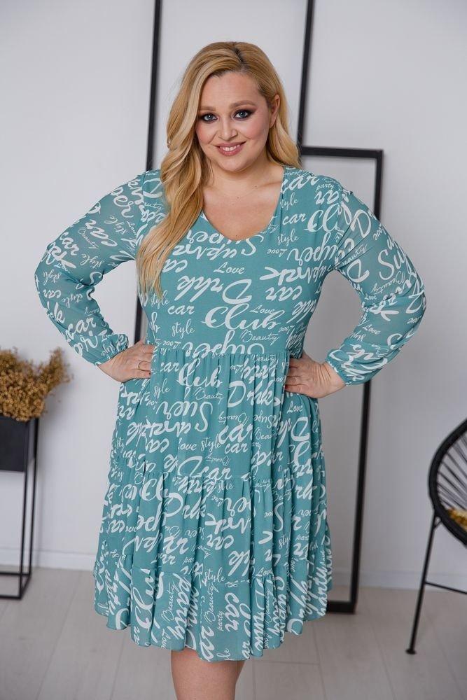 Niebieska Sukienka FLANEA Plus Size