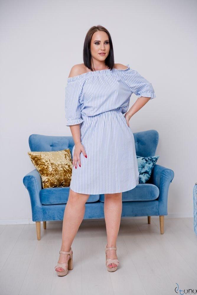Niebiesko-Biała Sukienka ALINE Plus Size Wzór 1