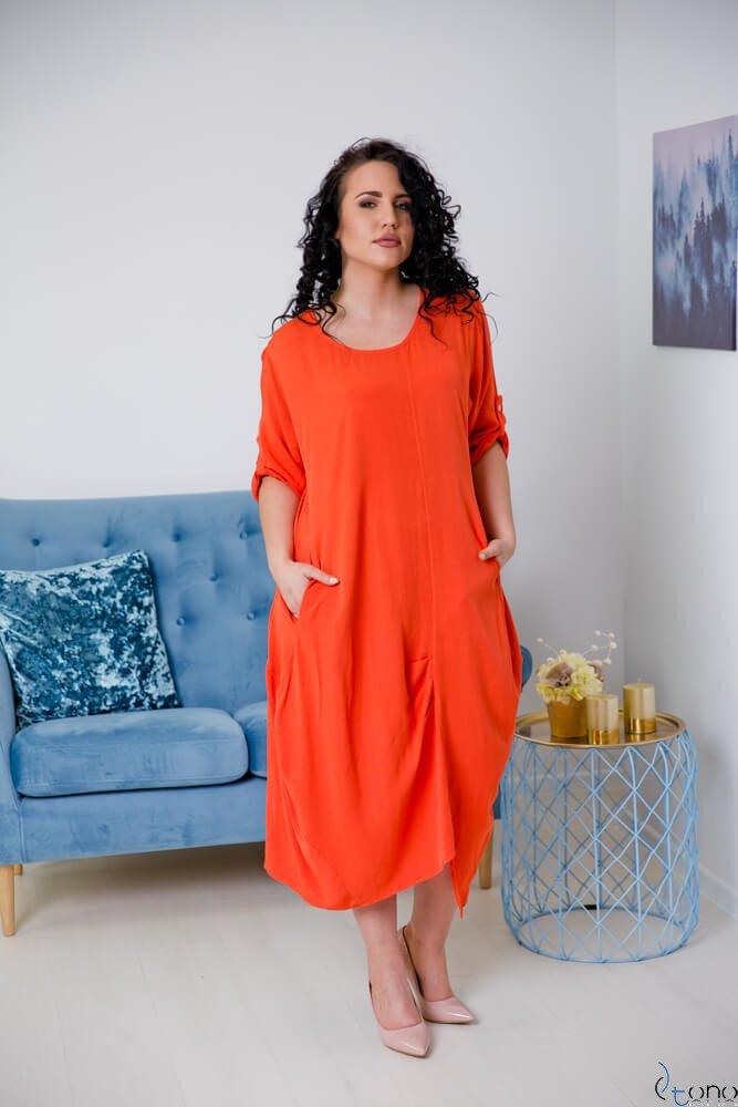 Pomarańczowa Sukienka SAJANA Plus Size