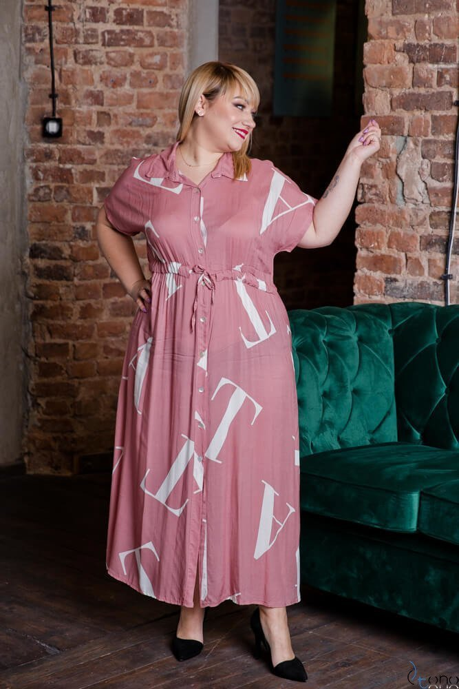Różowa Sukienka MALOS Plus Size