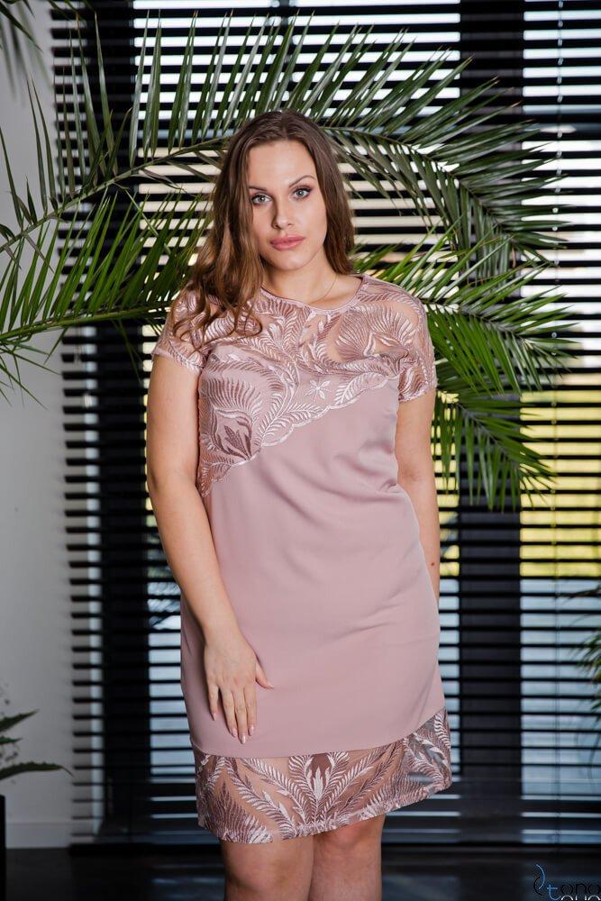 Różowa Sukienka ROTARIA Plus Size
