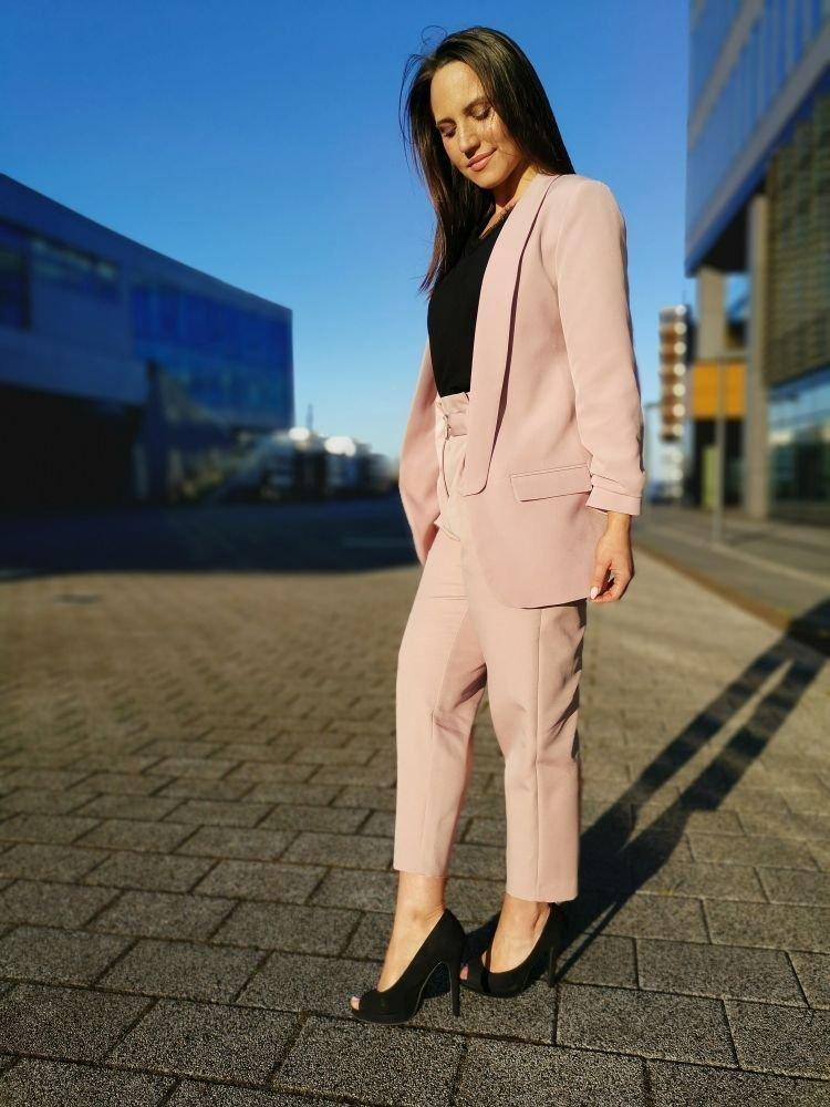 Różowe Spodnie Eleganckie MIRANO Plus Size