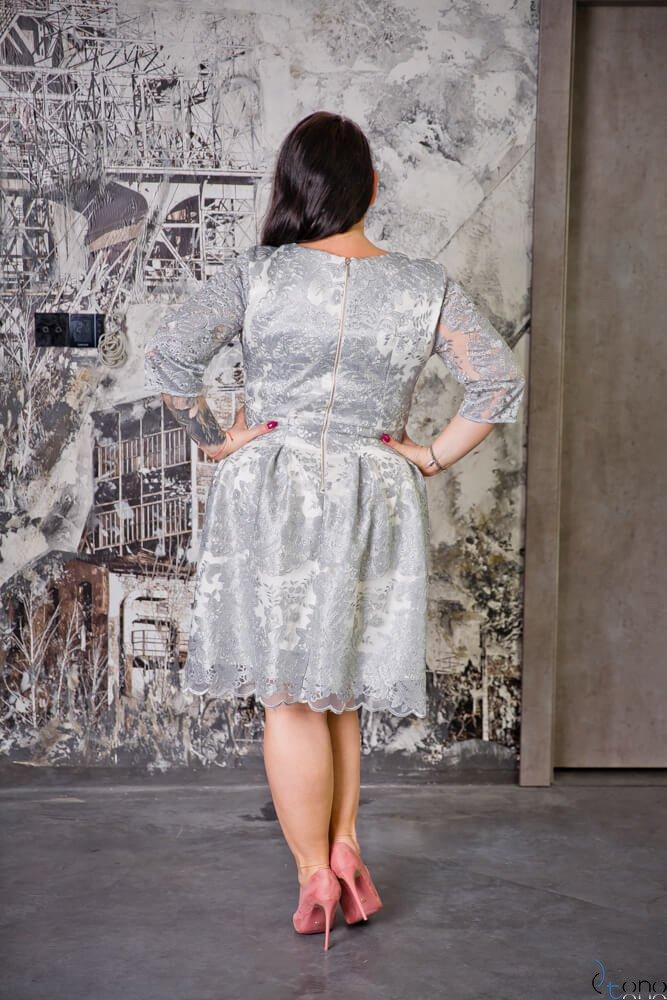 Srebrna Sukienka GENIO Plus Size Koronka
