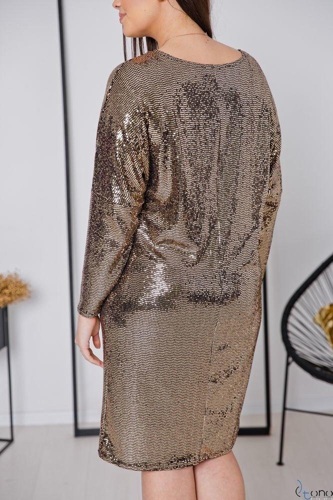Złota Sukienka ROYAL Plus Size