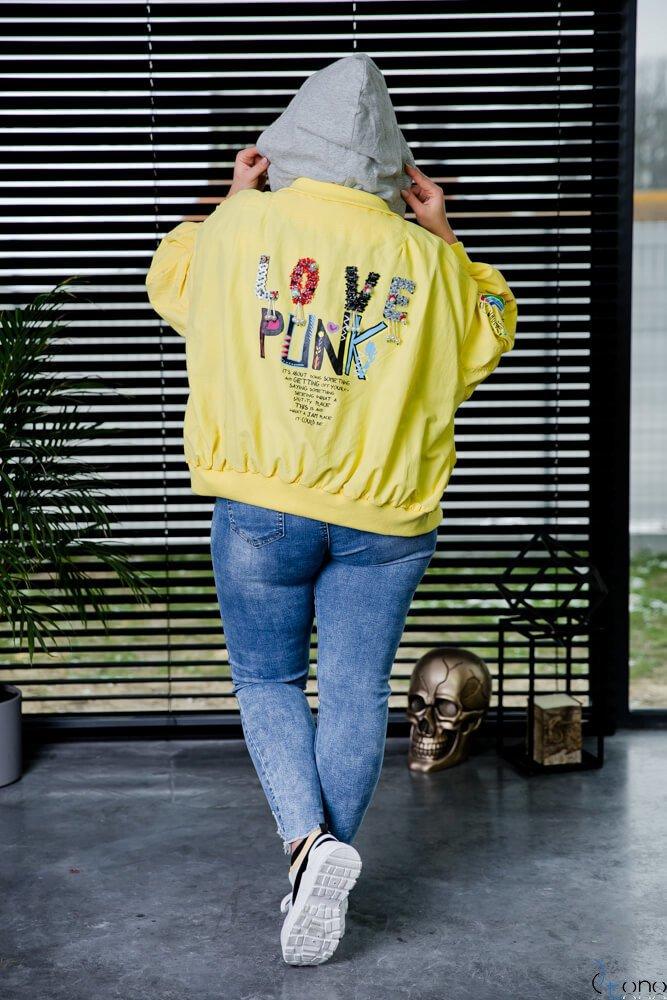 Żółta Kurtka PUNK Plus Size