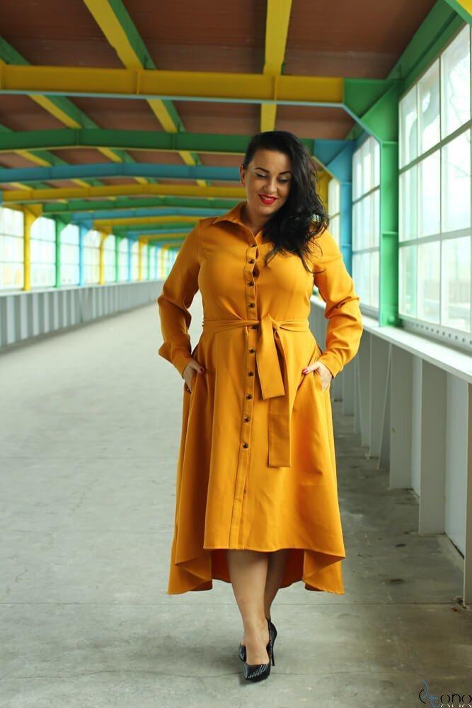 Żółta Sukienka CELINE Szmizjerka Plus Size