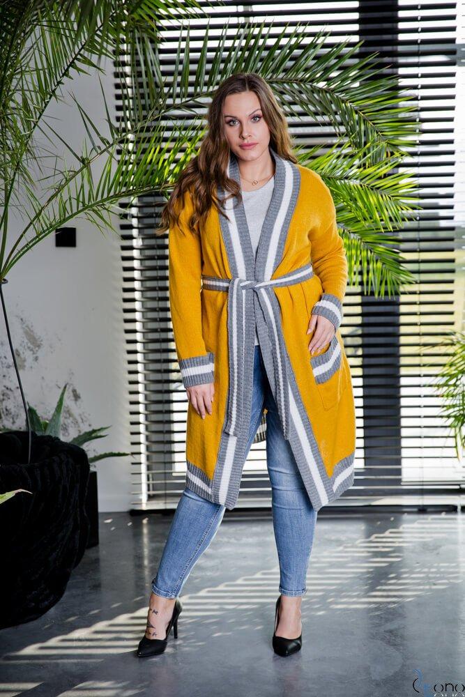 Żółty Kardigan DELICE Plus Size