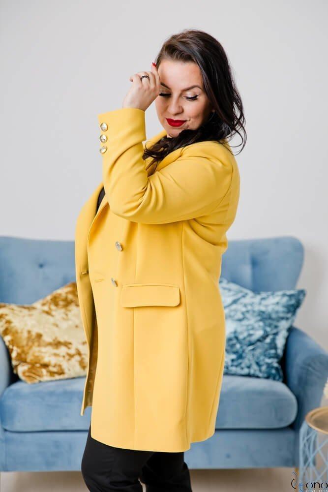 Żółty Płaszcz NAVY Plus Size