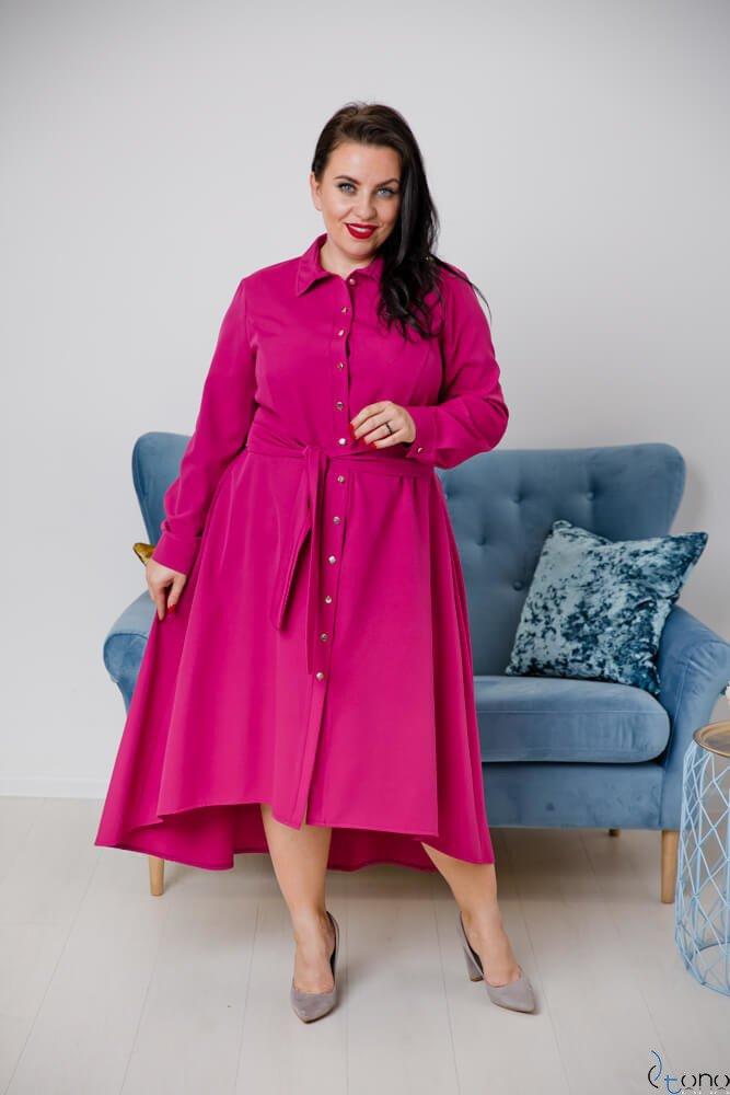 Amarantowa Sukienka CELINE Szmizjerka Plus Size