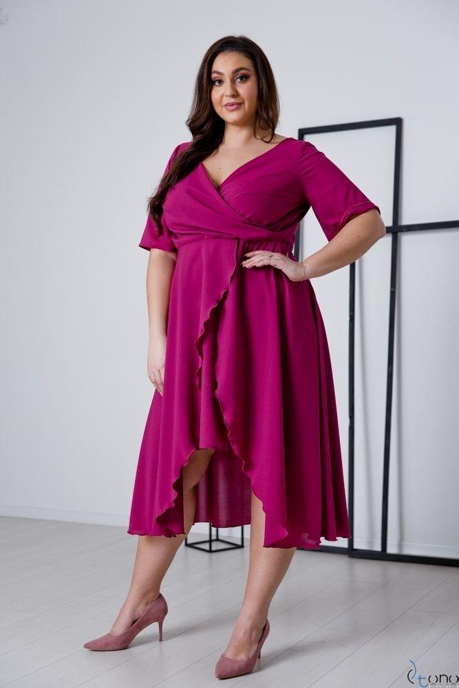 Amarantowa Sukienka LIREN Plus Size