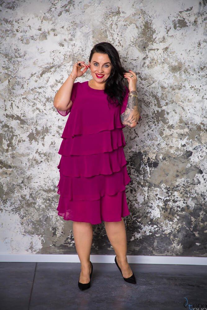 Amarantowa Sukienka ORINA Plus Size