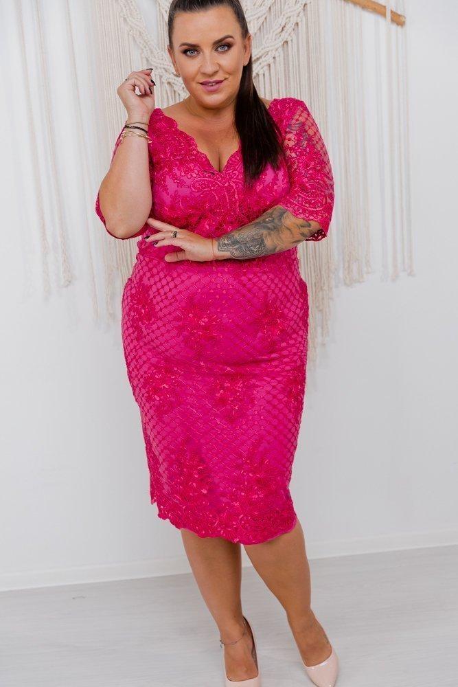 Amarantowa Sukienka STIMA Plus Size