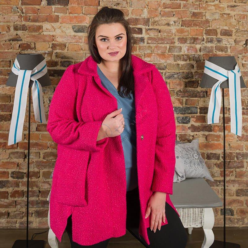 Amarantowy Płaszcz damski FELPA Trapezowy Plus Size
