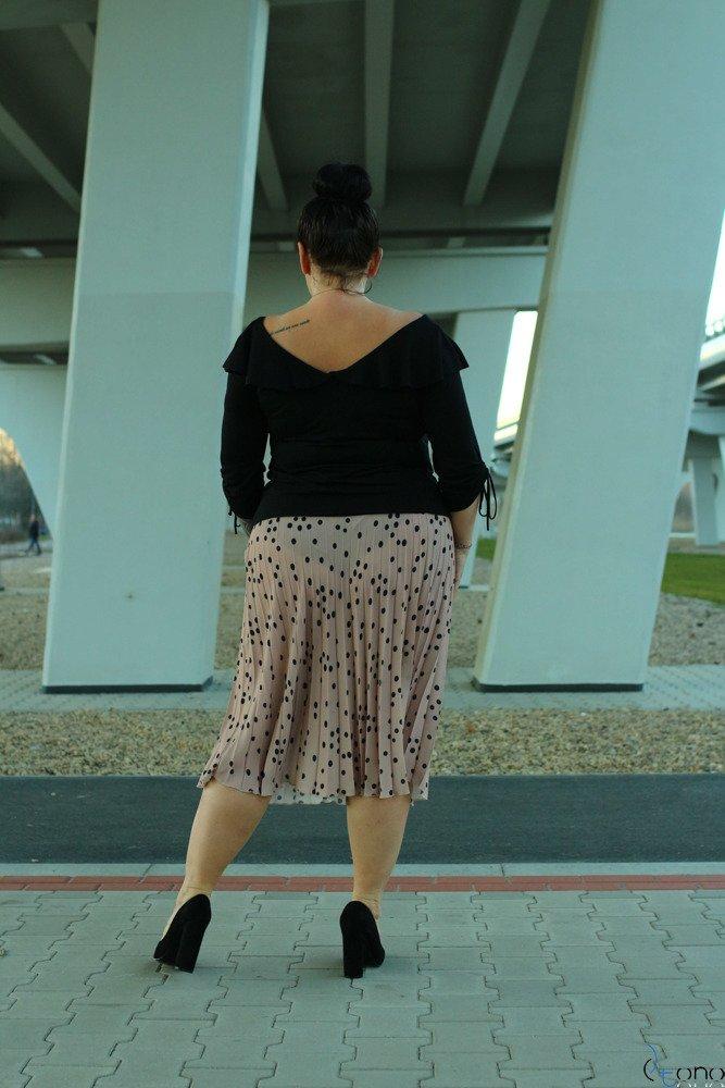 Beżowa Spódnica CARAMELLA Plisowana Plus Size