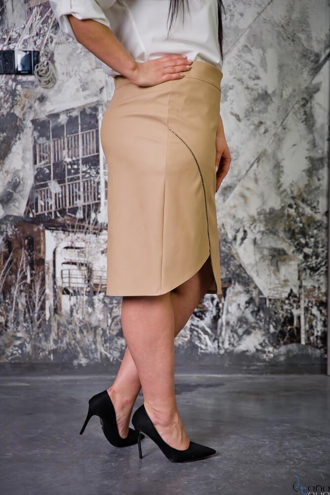 Beżowa Spódnica LINES Plus Size