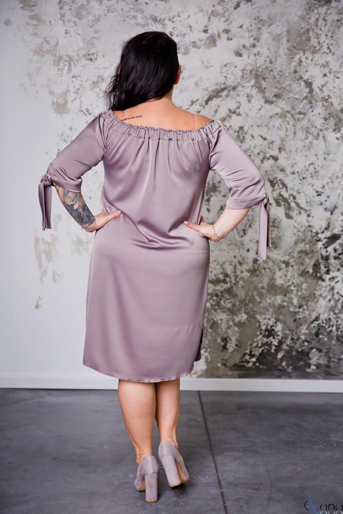 Beżowa Sukienka VALENCIA Hiszpanka Plus Size
