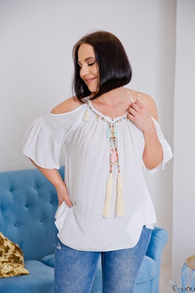 Biała Bluzka SOLITA Plus Size