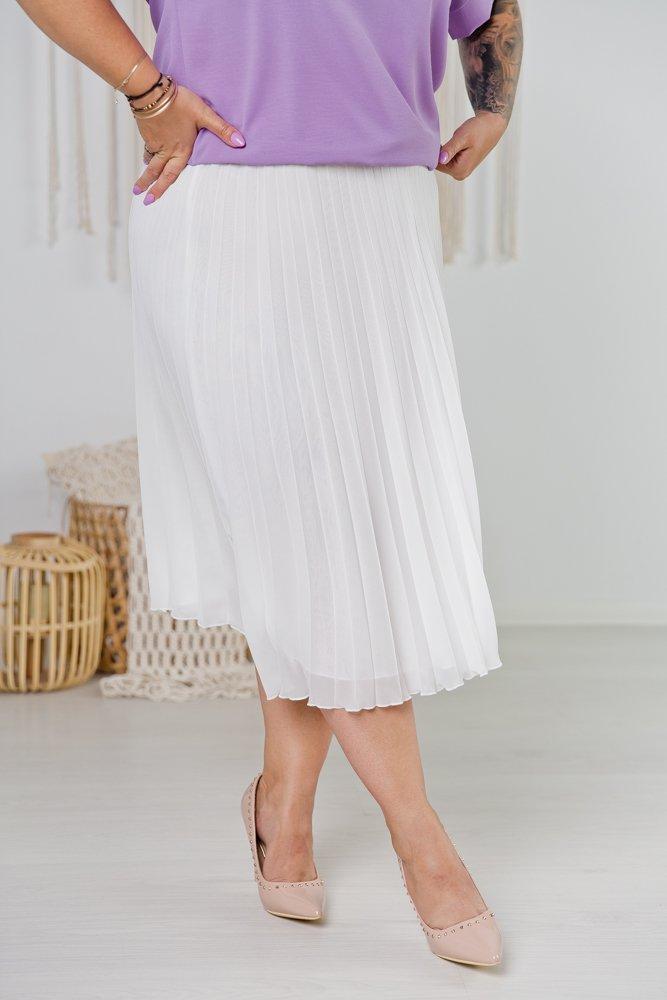 Biała Spódnica VOLTER Plus Size Plisowana