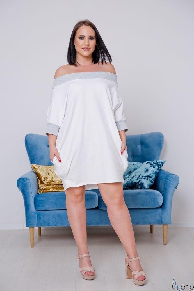 Biała Sukienka SEPPI Plus Size