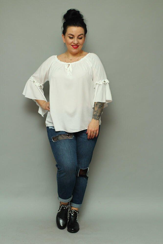 Biała bluzka damska CANTELLA Oversize Plus Size