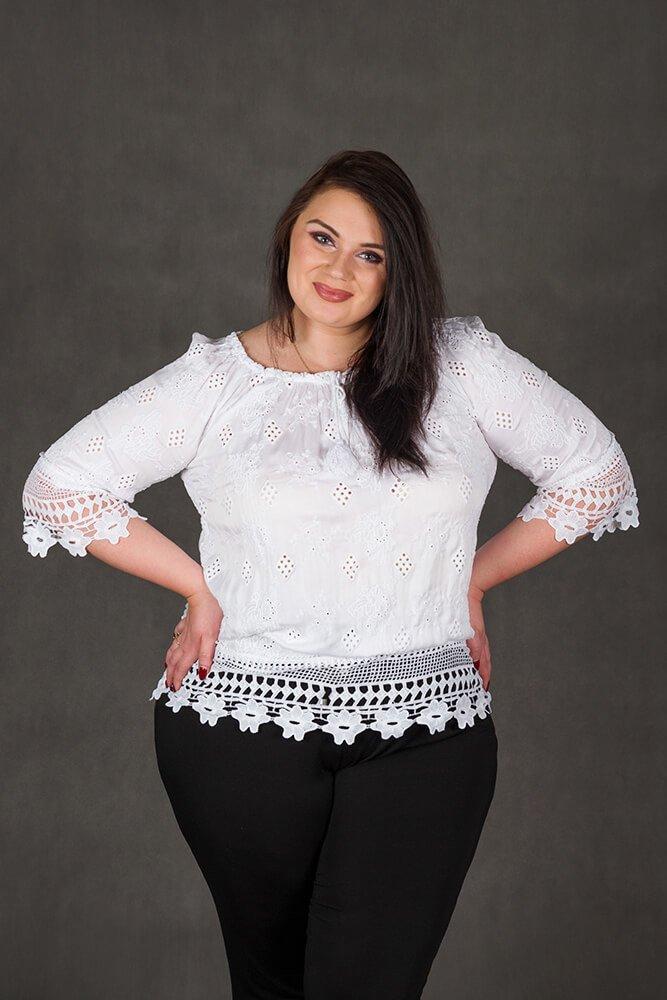 Biała bluzka damska CORONA Koronka Plus Size