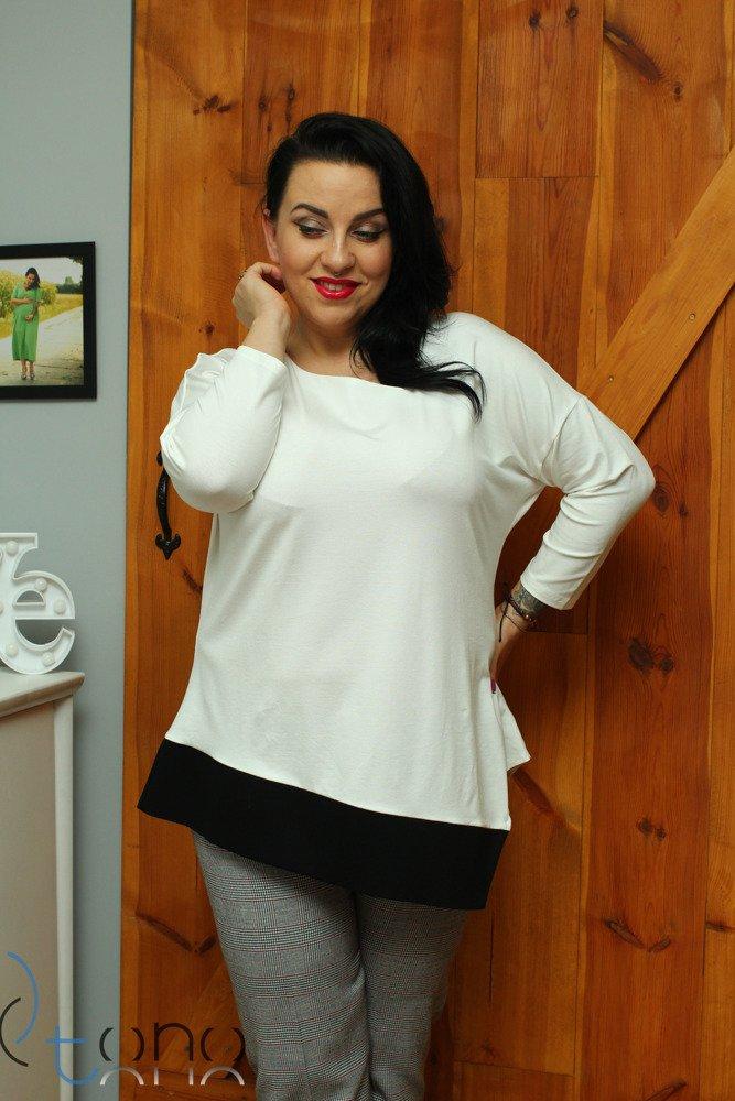 Biała bluzka damska DANICA Designerska Skos Plus Size