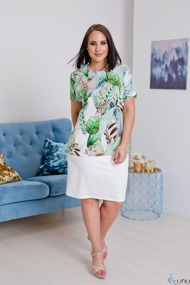 Biało-Zielona Bluzka LEXY Plus Size