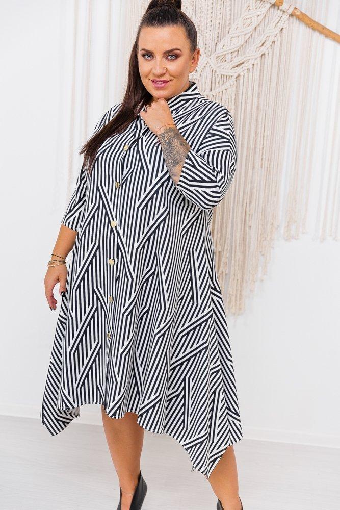 Biało-czarna Sukienka SERBA Plus Size