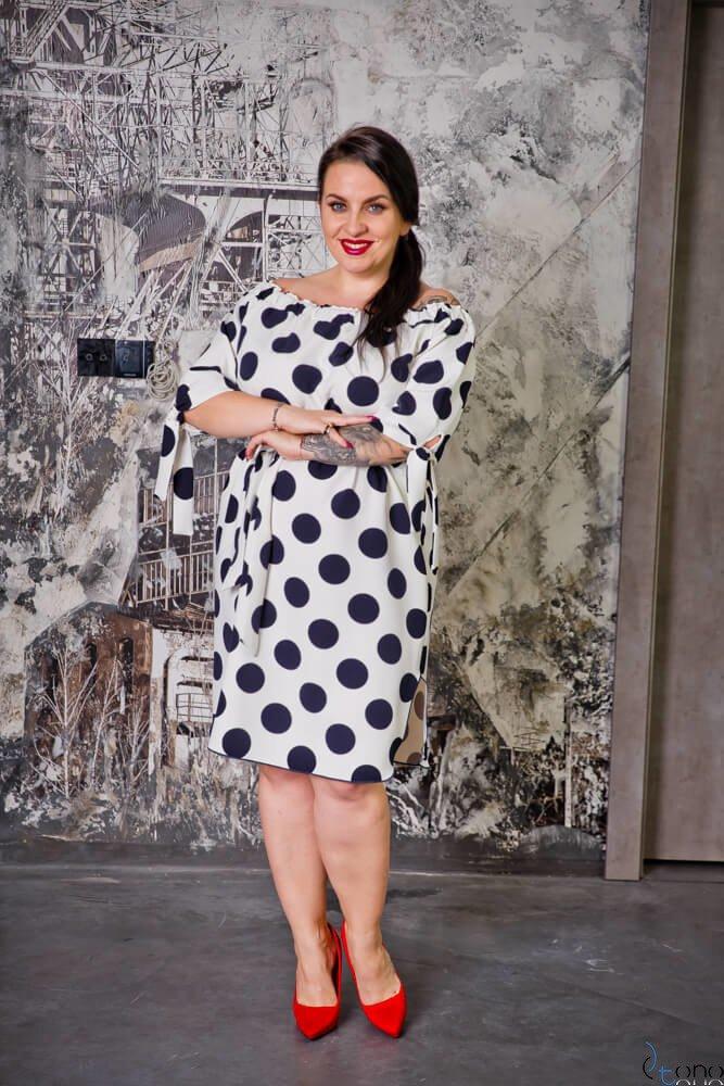 Biało-granatowa Sukienka VALENCIA Hiszpanka Plus Size