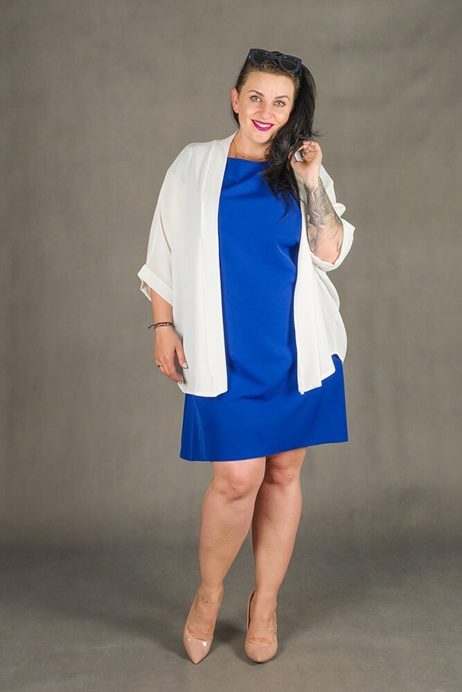 Biały Kardigan damski MATTINA Narzutka Plus Size