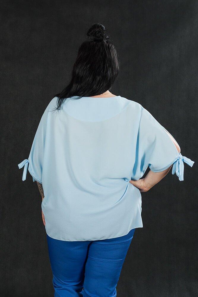Błękitna Koszula BOW bluzka oversize plus size