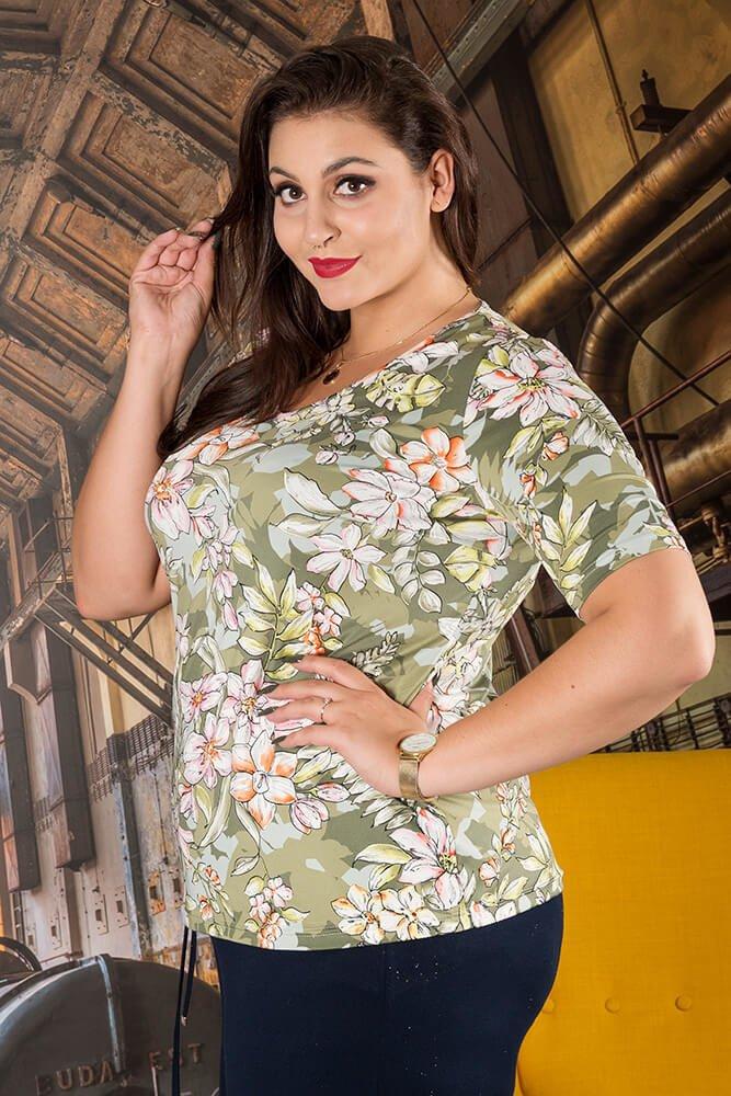 Bluzka ALBINA Kwiaty Plus Size wzór 3